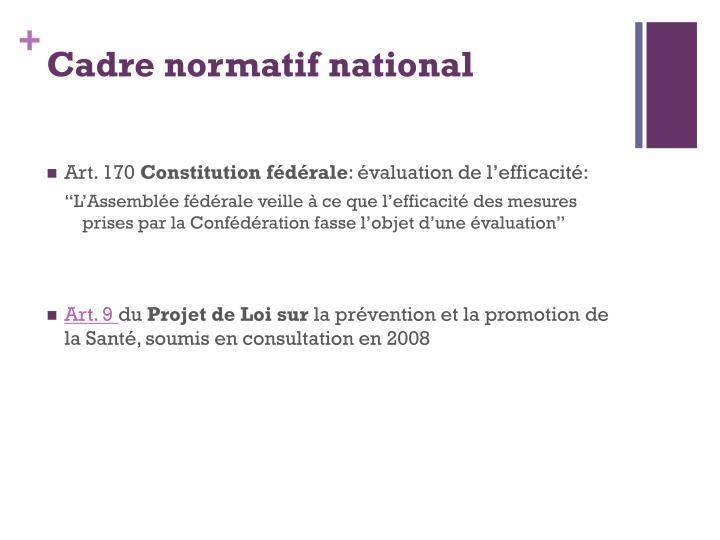 Cadre normatif national