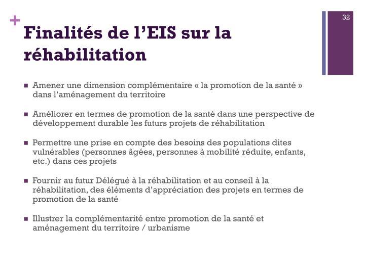 Finalités de l'EIS sur la réhabilitation