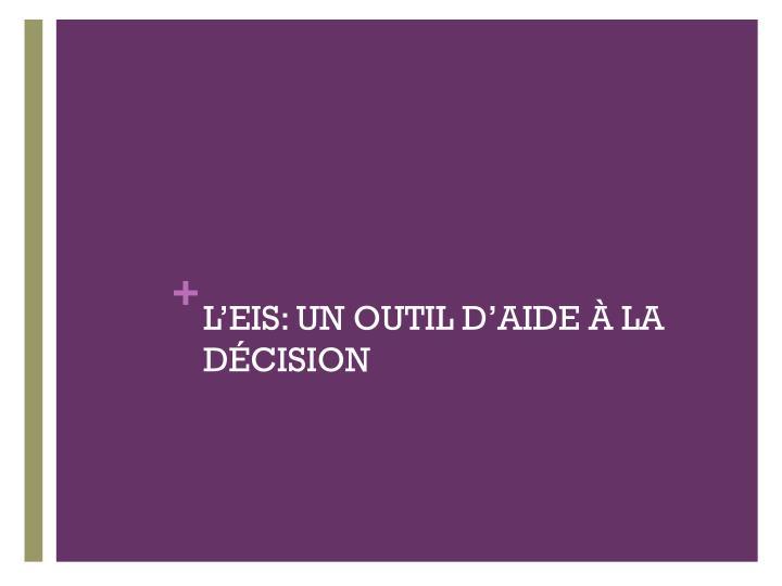 L'EIS: UN OUTIL D'AIDE À LA DÉCISION