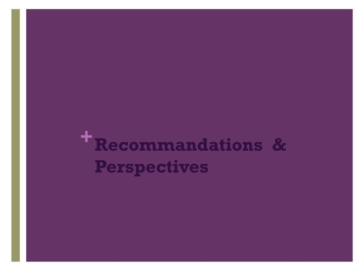 Recommandations  & Perspectives