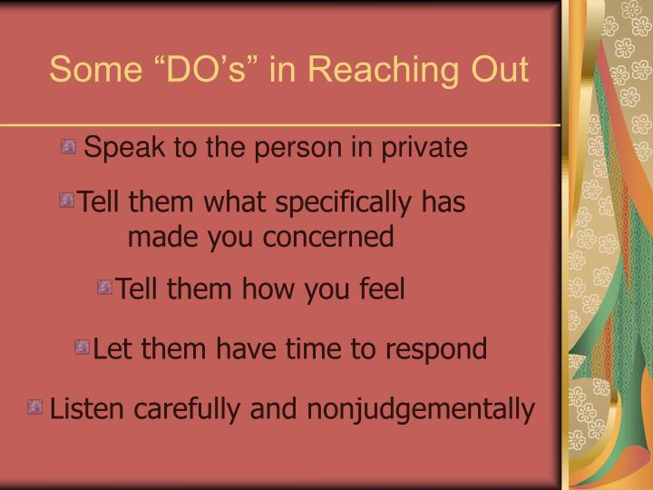 "Some ""DO's"" in Reaching Out"