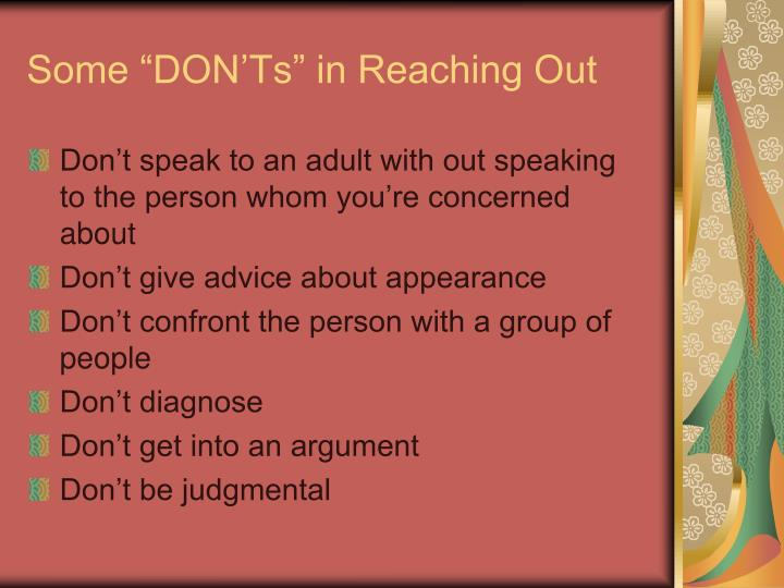 "Some ""DON'Ts"" in Reaching Out"