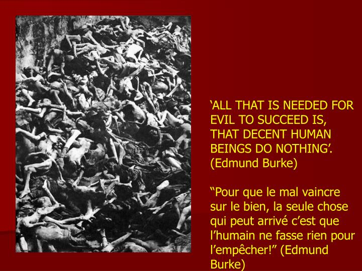 'ALL THAT IS NEEDED FOR EVIL TO SUCCEED IS, THAT DECENT HUMAN BEINGS DO NOTHING'. (Edmund Burke)