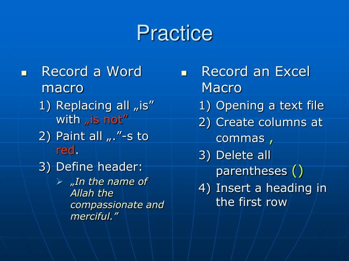 Record a Word macro