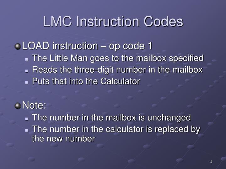 LMC Instruction Codes