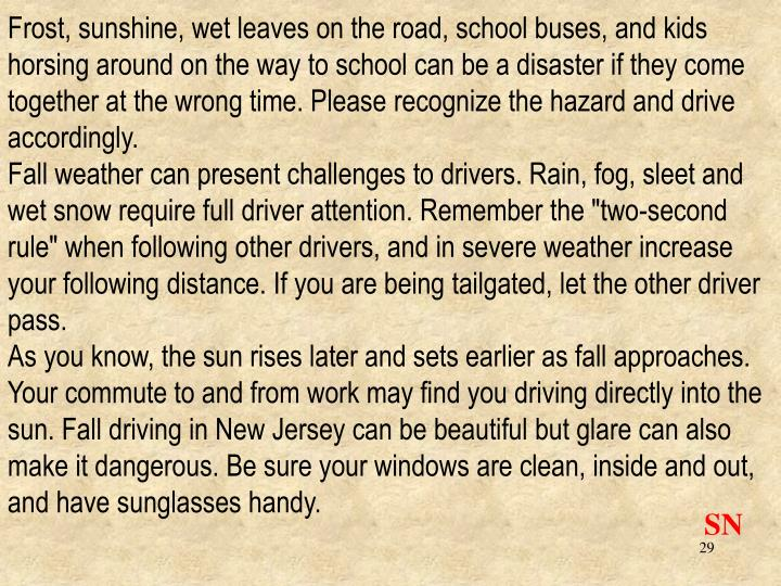 Frost, sunshine, wet leaves on the road, school buses, and kids horsing around on the way to school can be a disaster if they come together at the wrong time. Please recognize the hazard and drive accordingly.