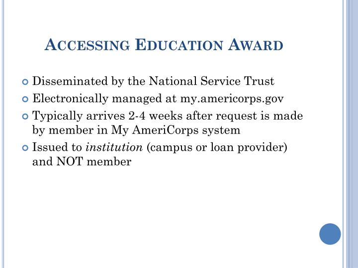 Accessing Education Award