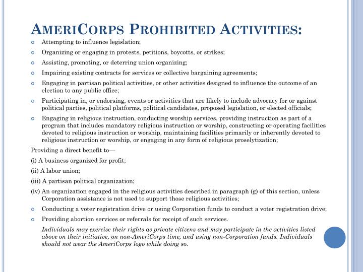 AmeriCorps Prohibited
