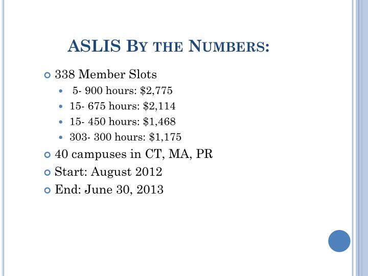 ASLIS By the Numbers: