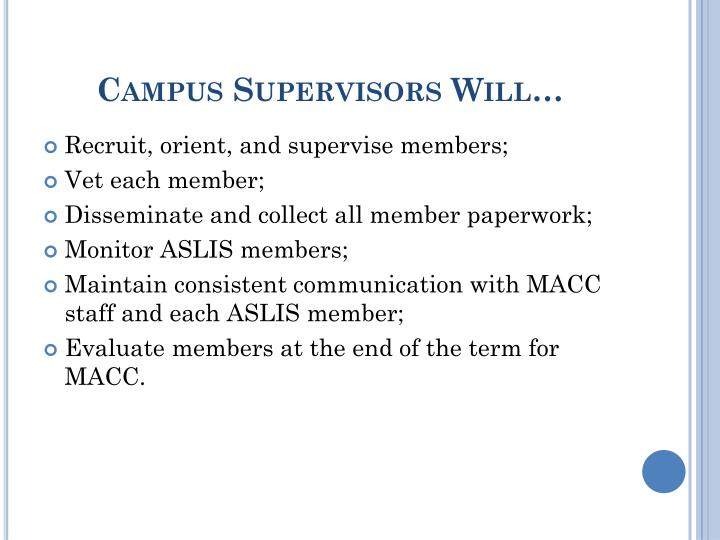 Campus Supervisors Will…