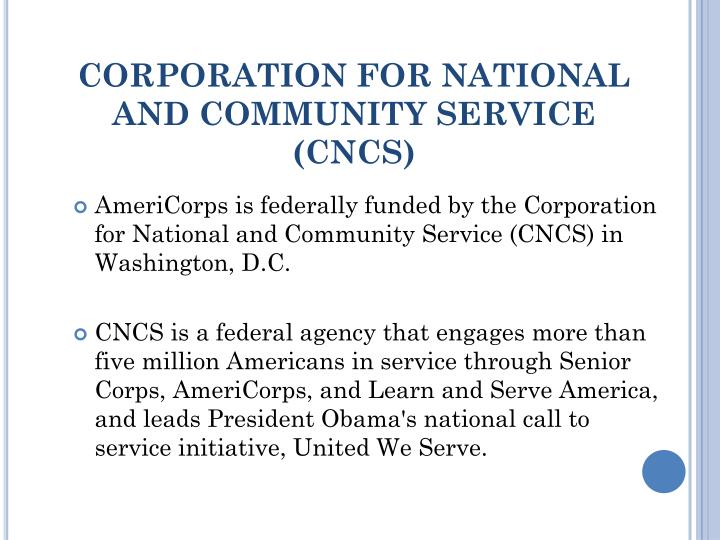 CORPORATION FOR NATIONAL AND COMMUNITY