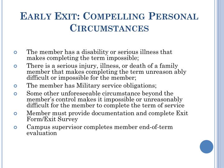 Early Exit: Compelling Personal Circumstances