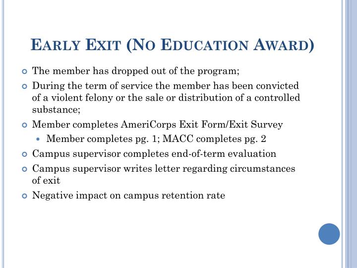 Early Exit (No Education Award)