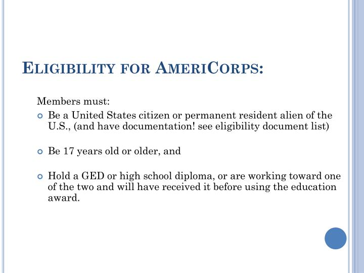 Eligibility for AmeriCorps:
