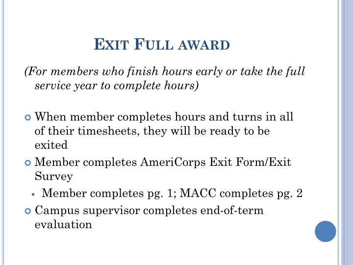 Exit Full award