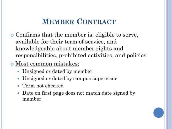 Member Contract