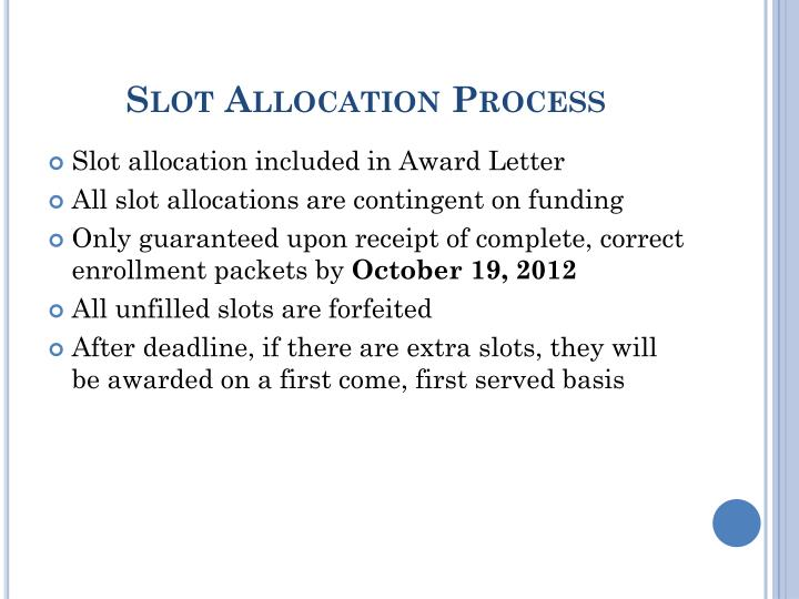 Slot Allocation Process