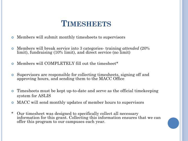 Timesheets