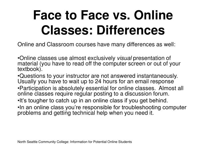 Face to Face vs. Online Classes: Differences