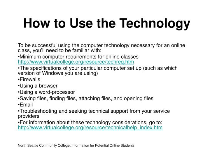 How to Use the Technology