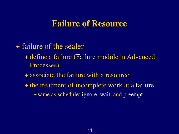 Failure of Resource