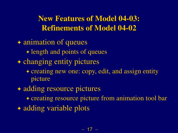 New Features of Model 04-03: