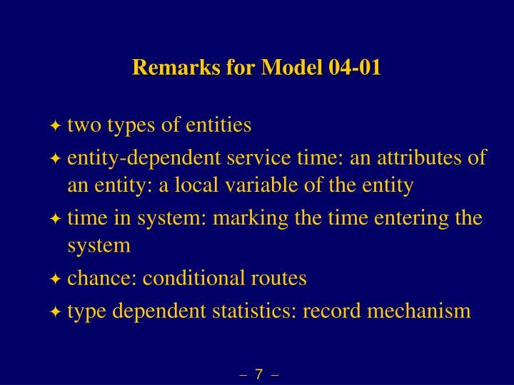 Remarks for Model 04-01