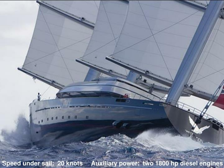 Speed under sail:  20 knots     Auxiliary power:  two 1800 hp diesel engines