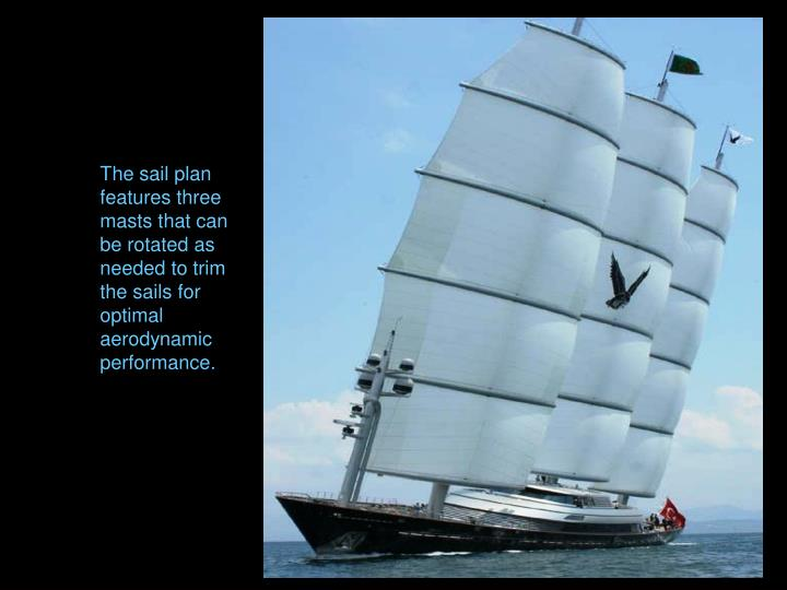 The sail plan features three masts that can be rotated as needed to trim the sails for optimal aerodynamic