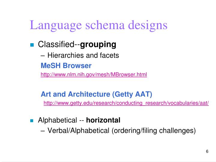 Language schema designs