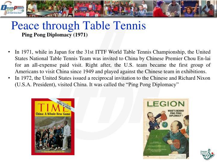 Peace through Table Tennis