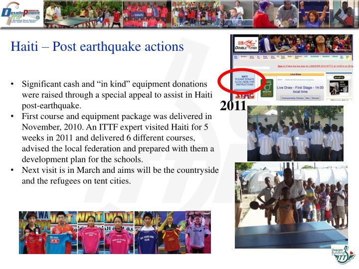 Haiti – Post earthquake actions