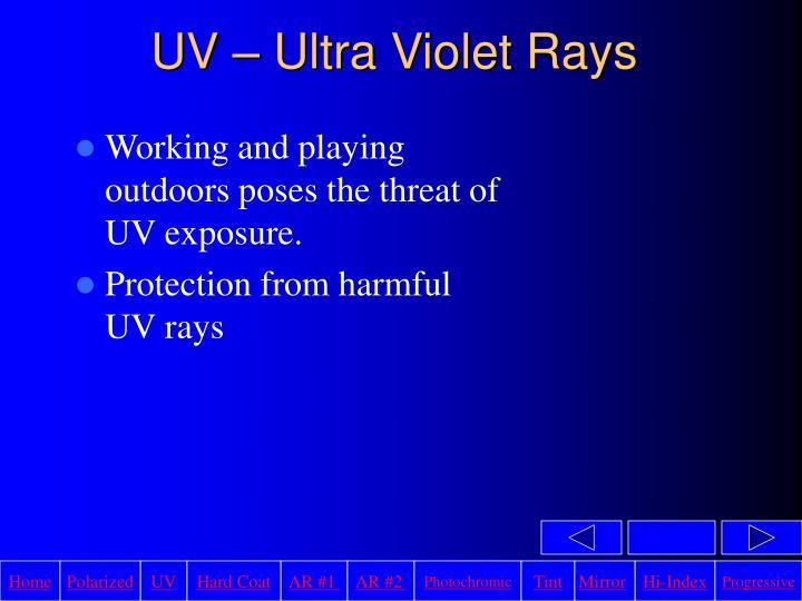 UV – Ultra Violet Rays