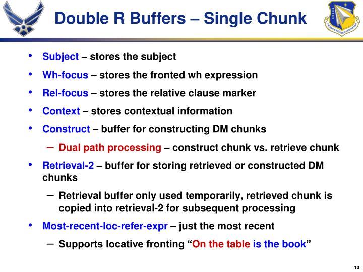 Double R Buffers – Single Chunk