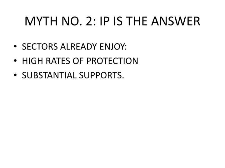 MYTH NO. 2: IP IS THE ANSWER