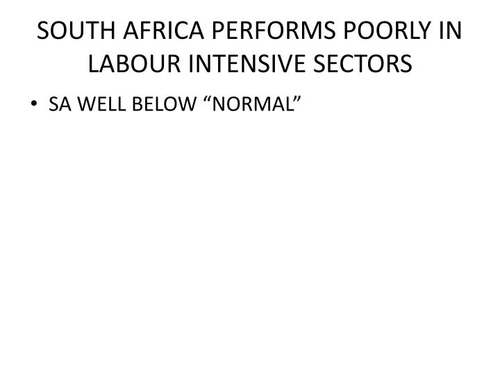 SOUTH AFRICA PERFORMS POORLY IN LABOUR INTENSIVE SECTORS