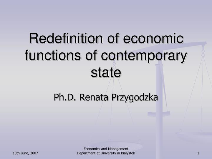 Redefinition of economic functions of contemporary state
