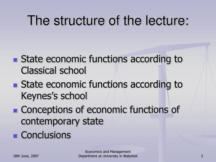 The structure of the lecture