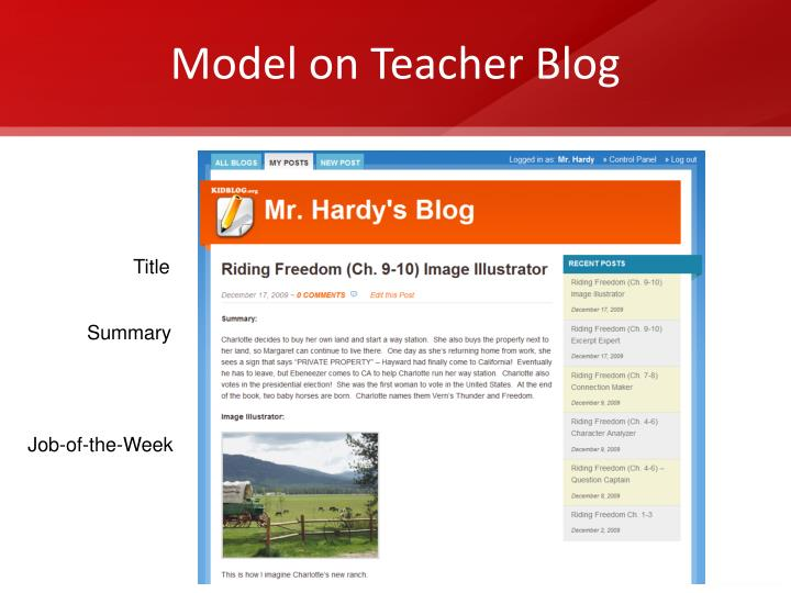 Model on Teacher Blog