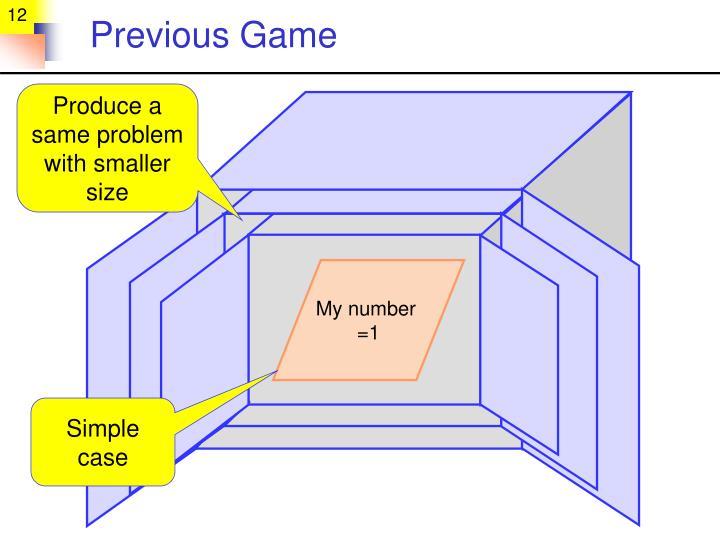 Previous Game