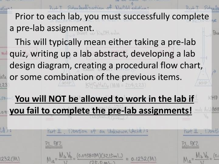 Prior to each lab, you must successfully complete a pre-lab assignment.