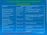 3 universities minimum entrance requirements