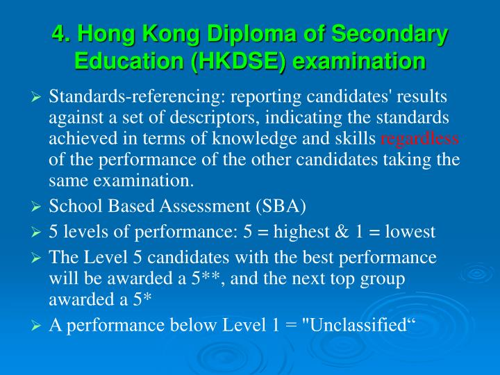 4. Hong Kong Diploma of Secondary Education (HKDSE) examination