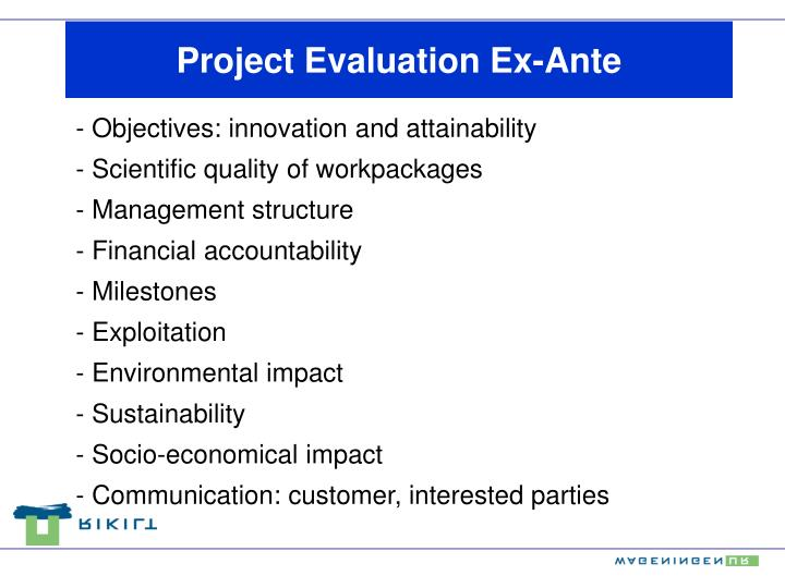 Project Evaluation Ex-Ante