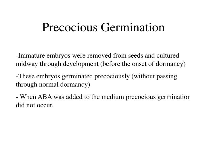 Precocious Germination