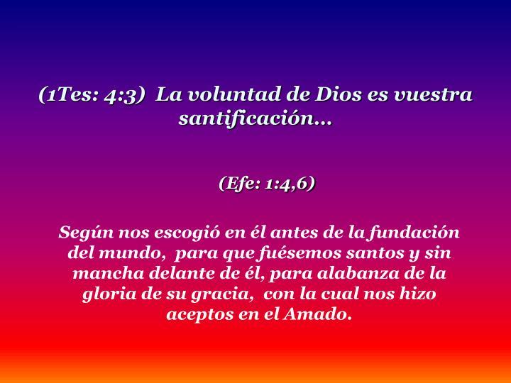 (1Tes: 4:3)  La voluntad de Dios es vuestra santificación…