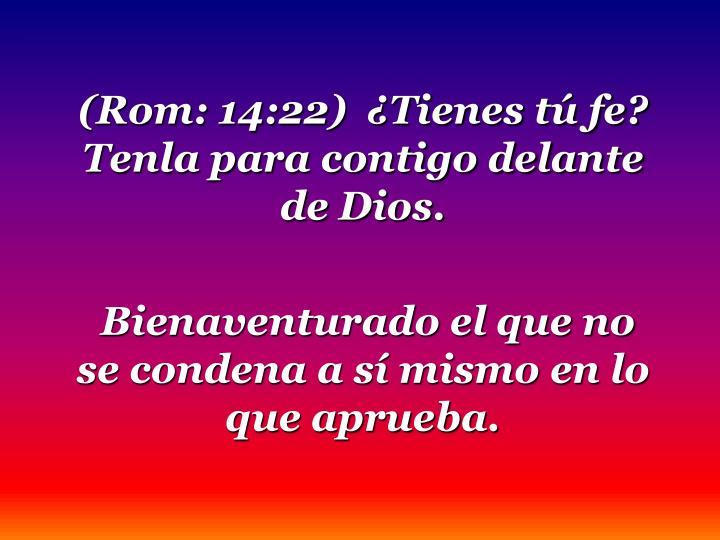 (Rom: 14:22)  ¿Tienes tú fe?  Tenla para contigo delante de Dios.