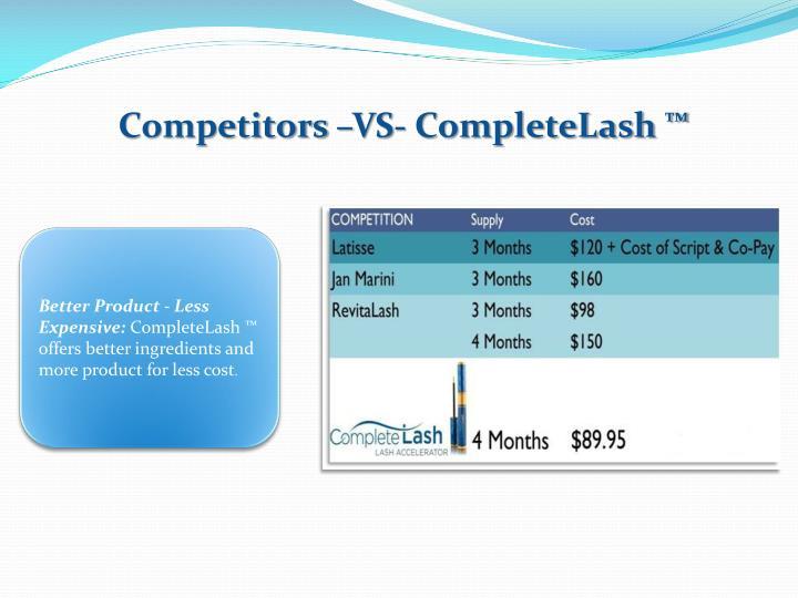 Competitors –VS- CompleteLash ™