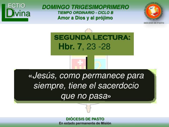 SEGUNDA LECTURA: