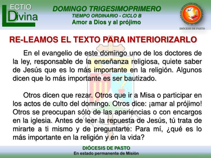 RE-LEAMOS EL TEXTO PARA INTERIORIZARLO